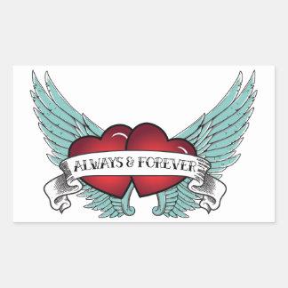 Always & Forever Rockabilly Winged Heart Rectangular Sticker