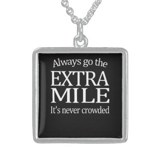 Always Go The Extra Mile Square Pendant Necklace