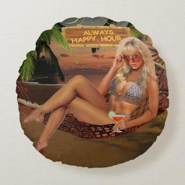 Beach Themed Always Happy Hour Round Pillow