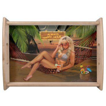 Beach Themed Always Happy Hour Serving Tray