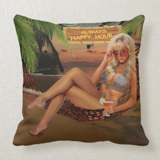 Always Happy Hour Throw Pillow