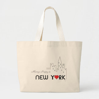 Always Happy in New York with Heart Large Tote Bag