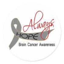 Always Hope Brain Cancer Classic Round Sticker