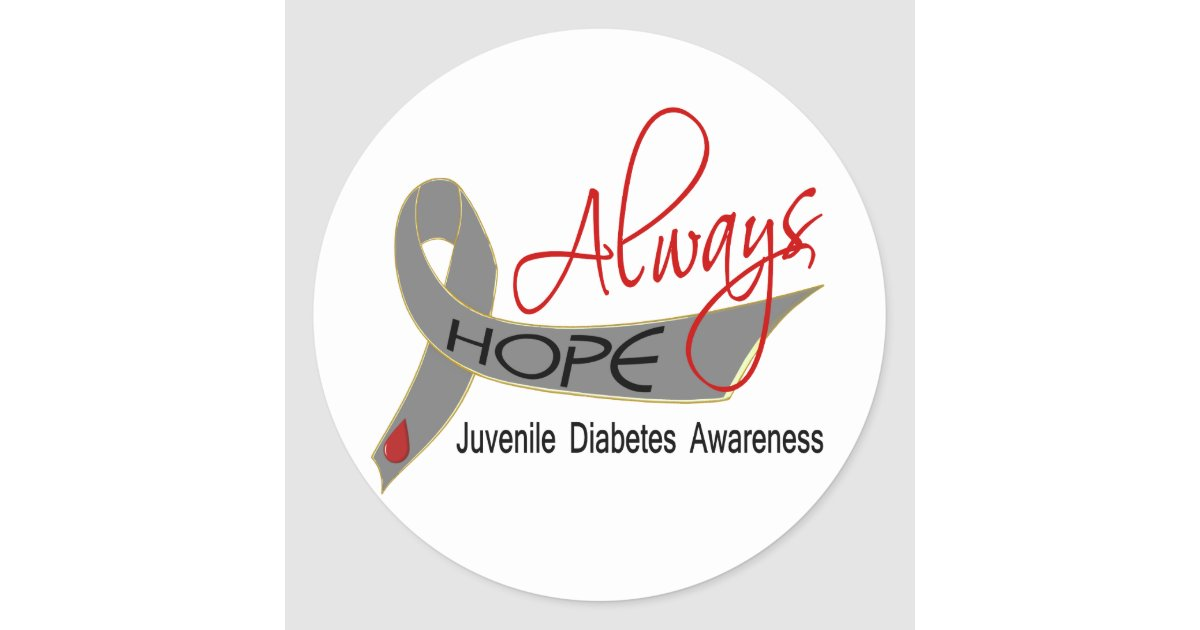 Always hope juvenile diabetes classic round sticker zazzle for Stickers juveniles