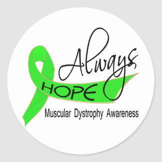 Always Hope Muscular Dystrophy Classic Round Sticker