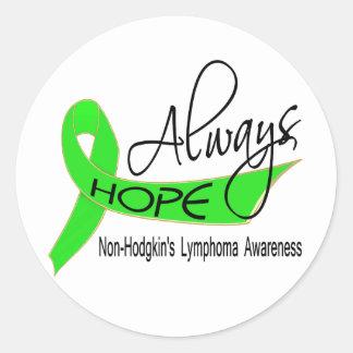 Always Hope Non-Hodgkin's Lymphoma Round Stickers