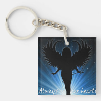 Always in our hearts key chain Single-Sided square acrylic keychain