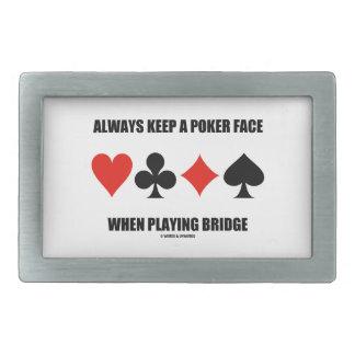Always Keep A Poker Face When Playing Bridge Rectangular Belt Buckle