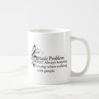 Always keeping in step when walking with people. classic white coffee mug