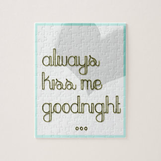 always kiss me goodnight blue yellow heart jigsaw puzzle