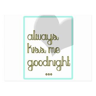always kiss me goodnight blue yellow heart postcard