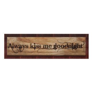 Always Kiss Me Goodnight (Rustic) Panel Wall Art