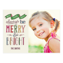 Always Merry Holiday Photo Card Postcard