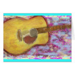 always music acoustic guitar greeting card