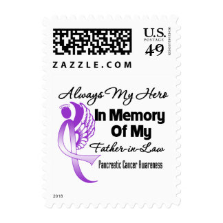 Always My Hero Father-in-Law - Pancreatic Cancer Postage Stamps