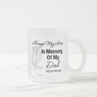 Always My Hero In Memory Dad - Lung Cancer Frosted Glass Coffee Mug
