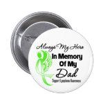 Always My Hero In Memory Dad - Lymphoma Pinback Buttons