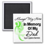 Always My Hero In Memory Dad - Lymphoma 2 Inch Square Magnet