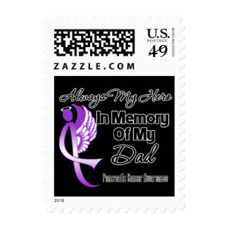 Always My Hero In Memory Dad - Pancreatic Cancer Postage Stamp