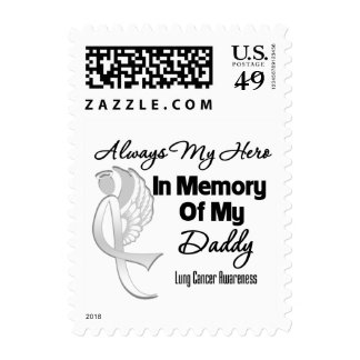 Always My Hero In Memory Daddy - Lung Cancer Postage Stamps