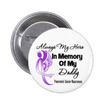 Always My Hero In Memory Daddy - Pancreatic Cancer Pinback Button