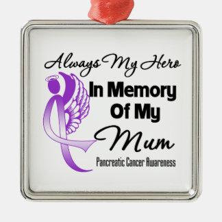 Always My Hero In Memory Mum - Pancreatic Cancer Metal Ornament