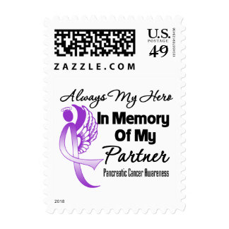 Always My Hero In Memory Partner -Pancreatic Cance Postage Stamps