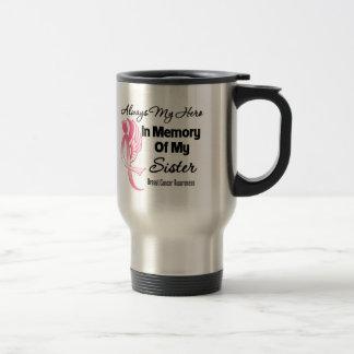 Always My Hero In Memory Sister - Breast Cancer Travel Mug