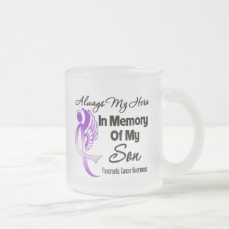 Always My Hero In Memory Son - Pancreatic Cancer Frosted Glass Coffee Mug