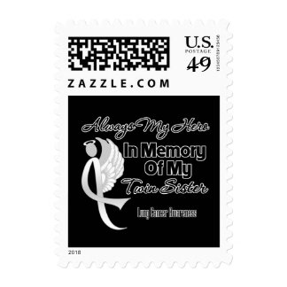 Always My Hero In Memory Twin Sister - Lung Cancer Stamp