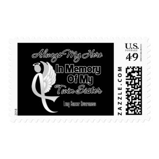 Always My Hero In Memory Twin Sister - Lung Cancer Postage Stamp