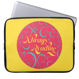 Always Reading   Bright Pink Blue Yellow & Swirls Laptop Sleeve