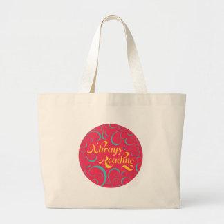 Always Reading | Bright Pink Blue Yellow & Swirls Large Tote Bag