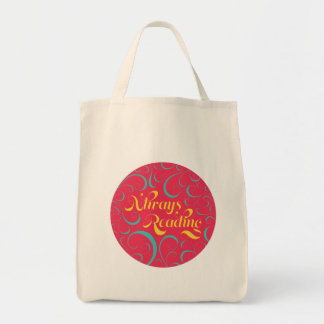 Always Reading | Bright Pink Blue Yellow & Swirls Tote Bag