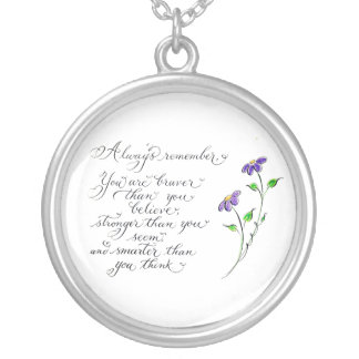 Always Remember inspirational quote typography Silver Plated Necklace