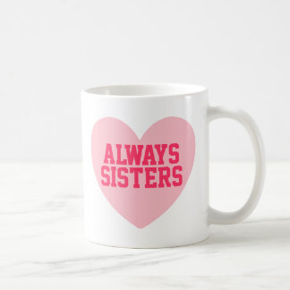 Always Sisters Pink Heart Personalized Mug