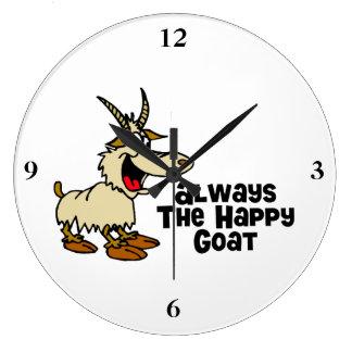 Always The Happy Goat Large Clock