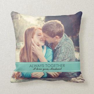 Always Together Modern Custom Photo Romantic Throw Pillow
