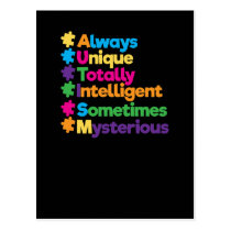 Always Unique Totally Intelligent Autism Postcard