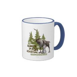 Ringer Mug with Sven & Olaf - Always Up for Adventure design