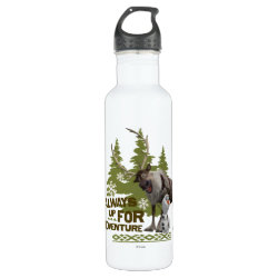 Water Bottle (24 oz) with Sven & Olaf - Always Up for Adventure design