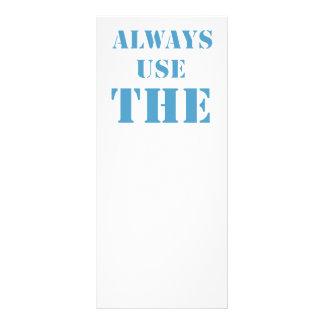Always use the rack card