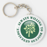 Always Willing To Discuss Genealogy Basic Round Button Keychain