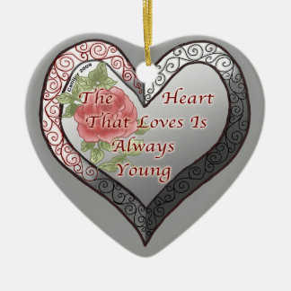 Always Young Valentine Heart Double-Sided Heart Ceramic Christmas Ornament