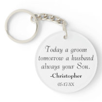 Always Your Son Mother of the Groom Wedding Photo Keychain