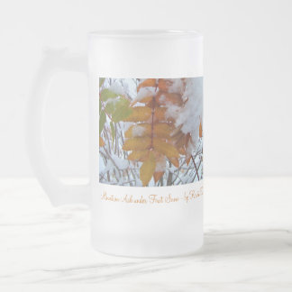 ALWS Autumn Leaves Winter Snow Frosted Glass Beer Mug