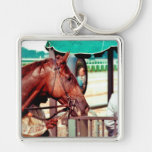 Alydar Thoroughbred 1979 Silver-Colored Square Keychain