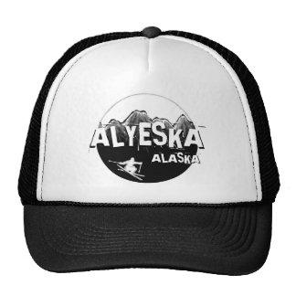 Alyeska Alaska black white theme skier hat