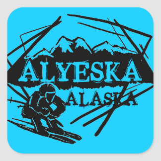 Alyeska Alaska blue ski logo stickers