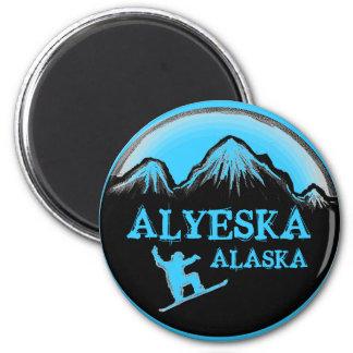 Alyeska Alaska blue snowboarder magnet